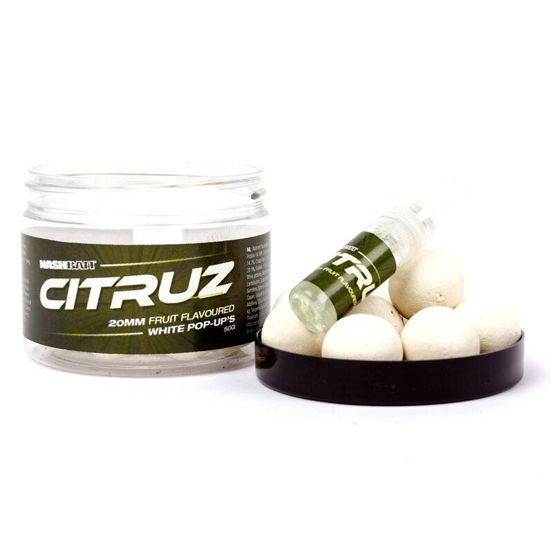 Bouillettes flottantes carpe nashbait citruz airball pop ups white avec booster spray - Flottantes | Pacific Pêche