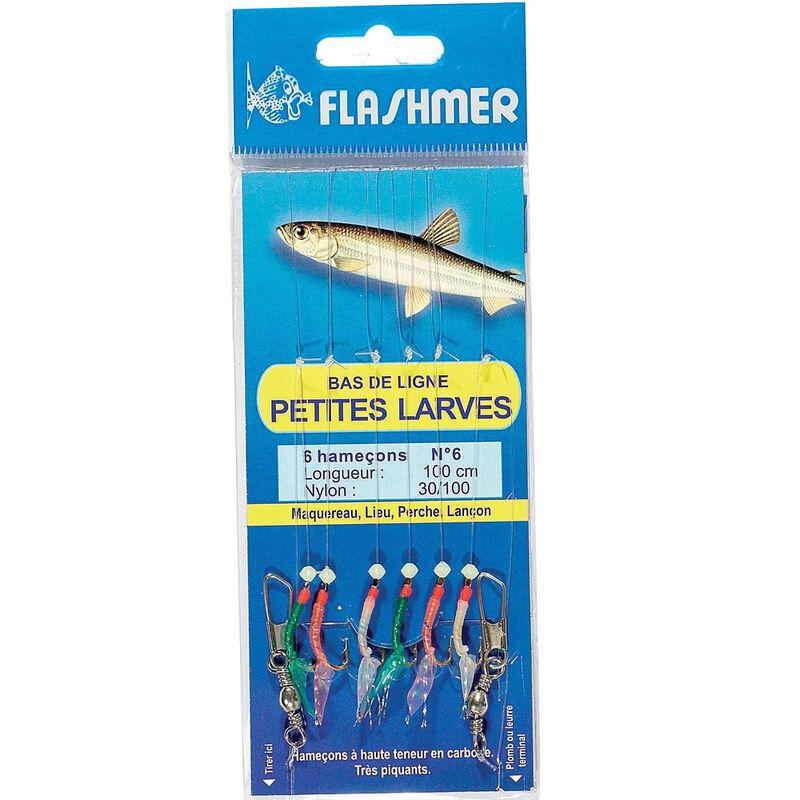 Bas de ligne flashmer petites larves 6 hameçons - Bas de Lignes / Lignes Montées | Pacific Pêche