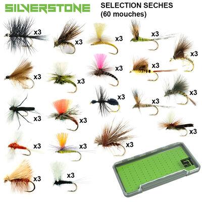 Sélection silverstone mouches sèches 20 modèles (60 mouches + boite étanche) - Packs | Pacific Pêche
