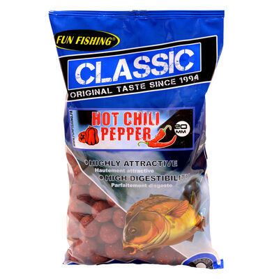 Bouillettes carpe fun fishing classic hot chili pepper 4 kg / 20 mm - Denses   Pacific Pêche
