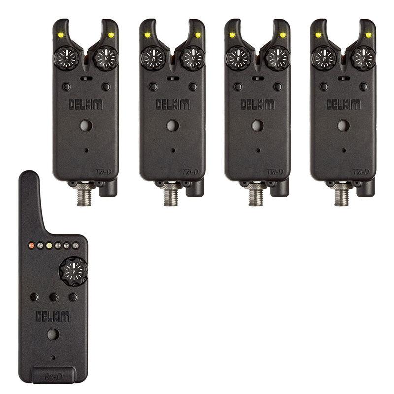 Pack 4 détecteurs carpe delkim txi-d + centrale rx-d (jaune) - Packs   Pacific Pêche