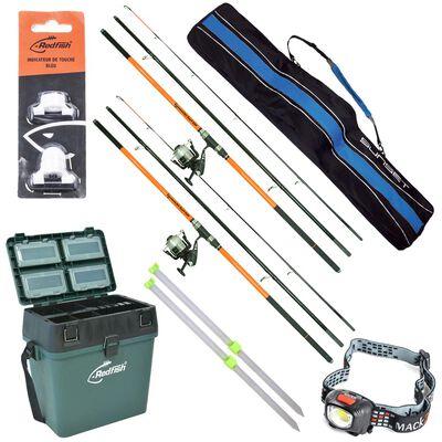 Pack complet  surfcasting redfish 2 ensembles + 2 piques + caisse de rangement + lampe + alert light + fourreau - Packs | Pacific Pêche