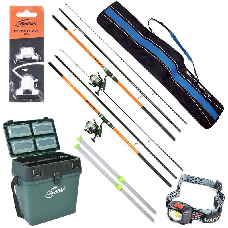 Pack complet  surfcasting redfish 2 ensembles + 2 piques + caisse de rangement + lampe + alert light + fourreau - Packs   Pacific Pêche