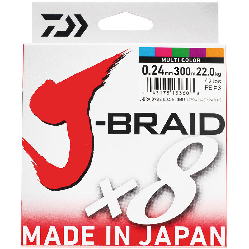Tresse daiwa jbraid 8 brins multi-color 300m - Tresses | Pacific Pêche