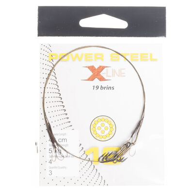Bas de ligne acier carnassier x-line power steel 19 brins 40cm + ham. ryder (x3) - Bas de ligne montés | Pacific Pêche