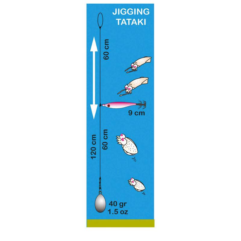 Bas de ligne mer flashmer seiche/encornet 1 turlutte grand panier - Turluttes | Pacific Pêche