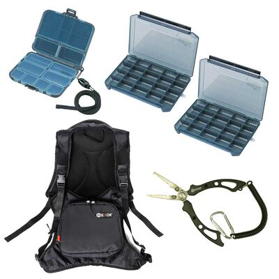 Pack bagagerie carnassier sac + boites + pince - Packs | Pacific Pêche