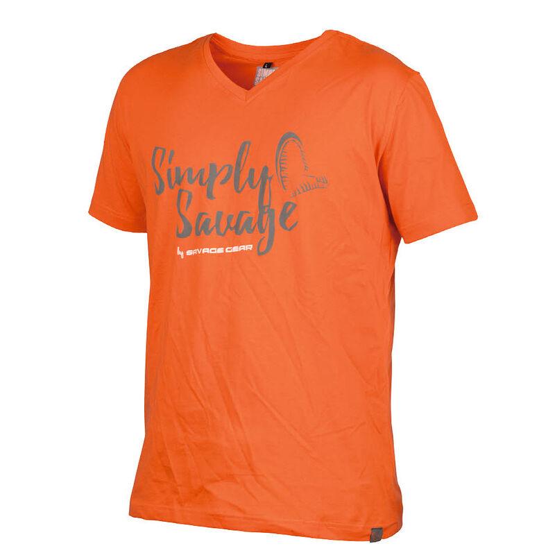 T-shirt savage gear v-neck tee orange - Tee-Shirts   Pacific Pêche