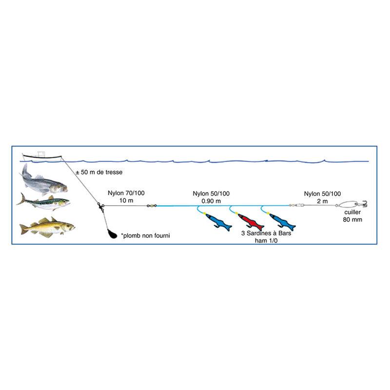 Ligne de traine mer flashmer sardine a bar - Bas de Lignes / Lignes Montées | Pacific Pêche