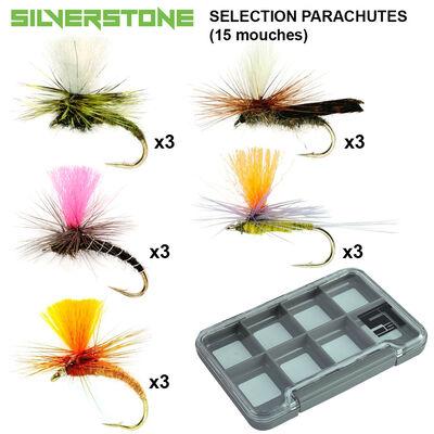 Sélection silverstone 5 mouches parachutes (15 mouches + boite étanche) - Packs | Pacific Pêche